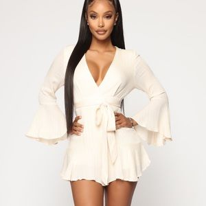 Fashion Nova - Ivory / Silver lining romper